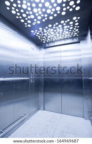 view from inside the elevator - stock photo