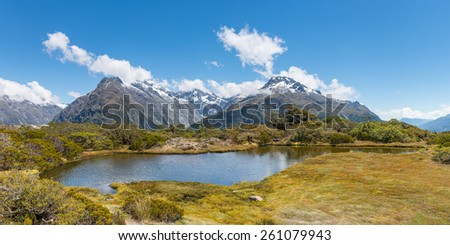 View from Key Summit hiking track in Fiordland National Park, New Zealand. - stock photo
