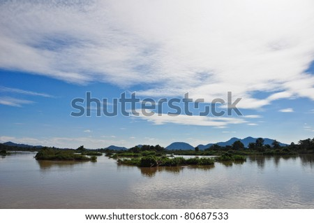 view from Laos (Four thousand islands) - stock photo