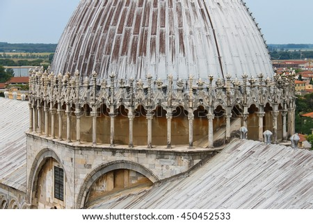 View from Leaning Tower to Cathedral (Duomo di Pisa), Italy - stock photo