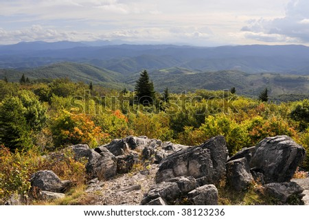 View from Little Pinnacle Overlook, Grayson Highlands State Park, Virginia Horizontal - stock photo