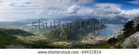 View from 1245 meters heigh to the Kotor Bay in Montenegro - stock photo