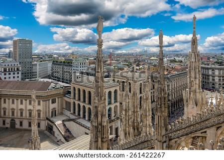 View from Milan Cathedral (Duomo). Milan, Italy - stock photo