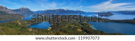 View from Monte Campanario, Bariloche, Argentina - stock photo