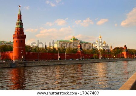 view from Moscow-river on kremlin in Russia - stock photo