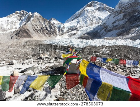 view from Mount Everest base camp with rows of buddhist prayer flags - Khumbu valley - Nepal - stock photo