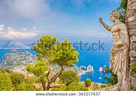 View from Mount Monte Solaro in Capri, Italy  - stock photo