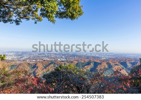 View from Mt. Takao in Autumn - stock photo