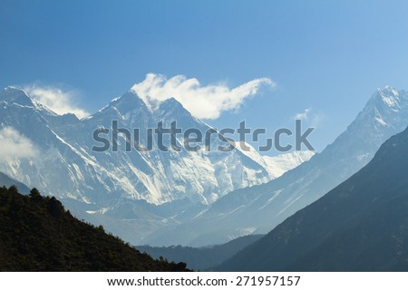View from Namche Bazar view point to Mount Everest, Nepal, Himalayas - stock photo