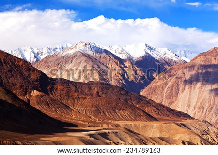 View from Nubra Valley - Karakoram mountain landscape in Ladakh, Jammu and Kashmir, India. - stock photo
