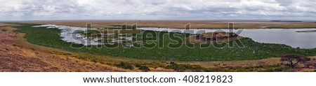 View from Observation Hill, Amboseli National Park, Kenya - stock photo