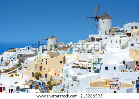 View From Oia, The Most Beautiful Village of Santorini Island In Greece - stock photo