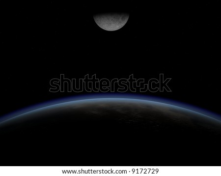 View from orbit of Earth. Picture shows sunrise. 3d image. - stock photo