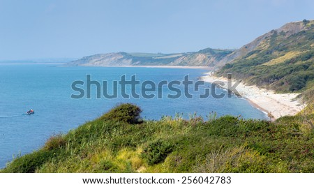 View from Osmington Mills of the coast of Dorset England UK between Weymouth and Lulworth Cove - stock photo