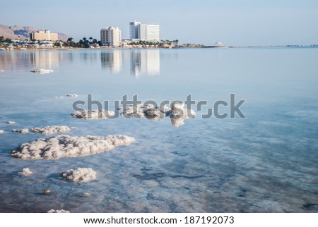 View from outside the seas on coast and hotels, Dead Sea, Israel - stock photo