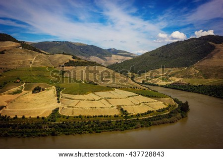View from Pinhao village in Portugal to Douro valley and river - stock photo