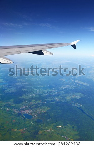 View from plane on european landscape - stock photo