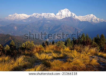 View from Poon Hill 3210m - stock photo
