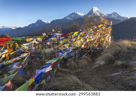 View from Poon Hill 3210m in Nepal - stock photo