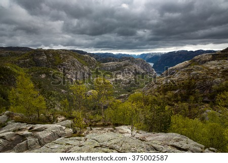 View from Pulpit Rock (Preikestolen), Norway. - stock photo