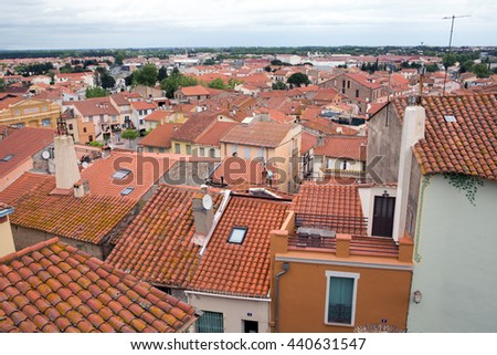 View from roof of Cathedral Sainte Eulalie et Sainte Julie in Elne, France - stock photo