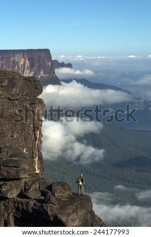 View from Roraima Tepui - Table Mountain - Triple border, Venezuela, Guyana, Brazil   - stock photo