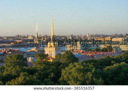 View from Saint Isaac's Cathedral Colonnade in St. Petersburg, Russia. - stock photo