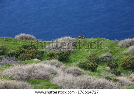 view from scottish cliffs to the see - stock photo