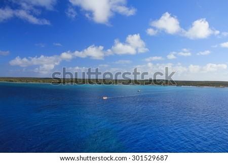 View from sea on Eleuthera island, Bahamas - stock photo