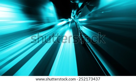 View from Side of Car Going through pedestrian crossing, Blurred Motion - stock photo