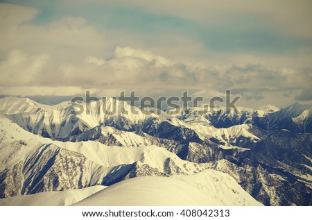 View from ski slopes. Caucasus Mountains, Georgia, region Gudauri. Toned landscape. - stock photo
