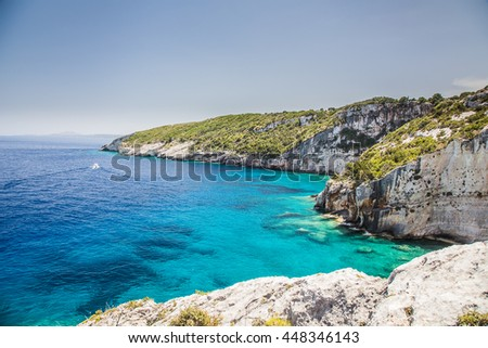 View from Skinari belvedere on Blue Caves. Zakynthos Island. - stock photo