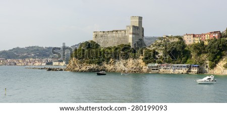 view from south of castle on sea at touristic village in La Spezia gulf, Lerici, Italy - stock photo