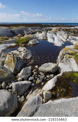 view from South Uist looking across the shoreline in the Outer Hebrides - stock photo