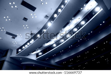 View from stage on ceiling - stock photo