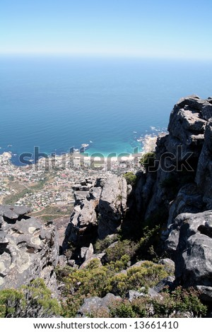 View from Table Mountain down to the towns and coastline of Cape Town and the Cape Peninsula (South Africa) - stock photo