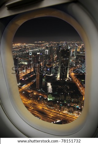 View from the airplane window, a modern city. - stock photo