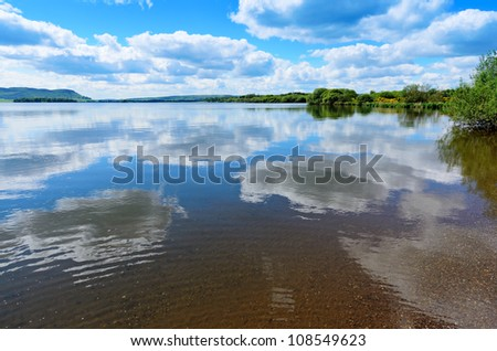 View from the banks of Loch Leven (Loch Lìobhann) in Perth and Kinross Scotland. - stock photo