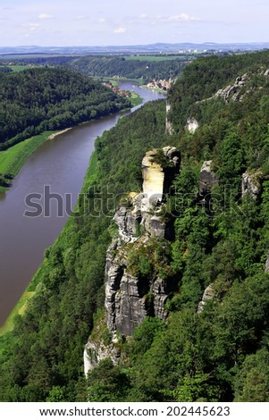 View from the Bastei on the river Elbe, Saxon Switzerland - stock photo