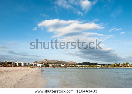 View from the beach in Alcudia on Majorca - stock photo