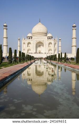 view from the beautiful wonder of the world Taj Mahal, Agra, India - stock photo