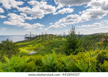View from the Beehive trail in Acadia National Park looking towards the Atlantic Ocean and coast - stock photo