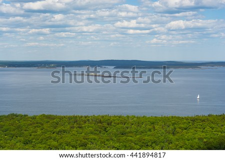 View from the Beehive trail in Acadia National Park looking towards the Atlantic Ocean, Bar Harbor and the coast - stock photo