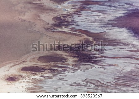 View from the bird's eye view. Artist palette contains colorful rock formations. An abundance of natural beauty. Colorful artist palette Dante's View, Death Valley National Park - stock photo