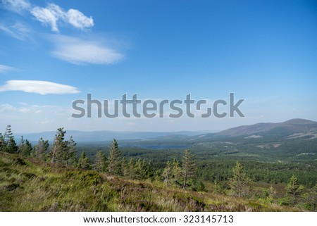 View from the Cairngorms towards Loch Morlich - stock photo