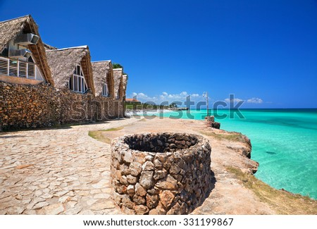 View from the coast to the Atlantic Ocean, Cuba - stock photo