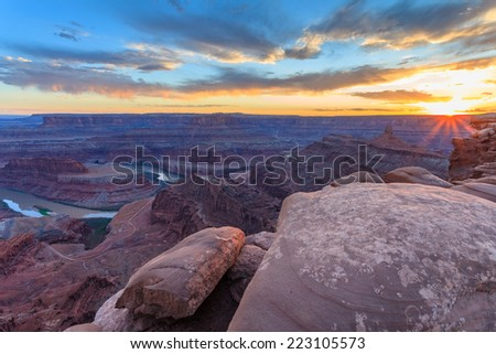 View from the Dead Horse Point in the Dead Horse Point Provincial Park, Utah, USA - stock photo