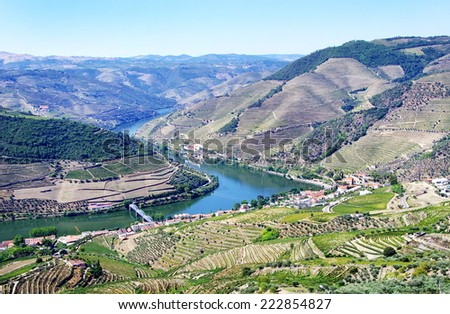 View from the Douro valley, from Casal de Loivos - stock photo