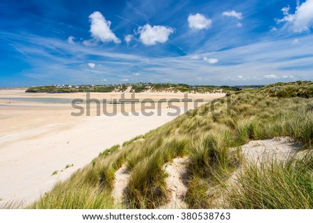 View from the dunes at Porthkidney Sands Beach near Lelant and St Ives Cornwall England UK Europe - stock photo