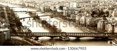 View from the Eiffel tower bridge Bir-Hakein and islet on the river Seine with the reply of the Statue of Liberty. - stock photo